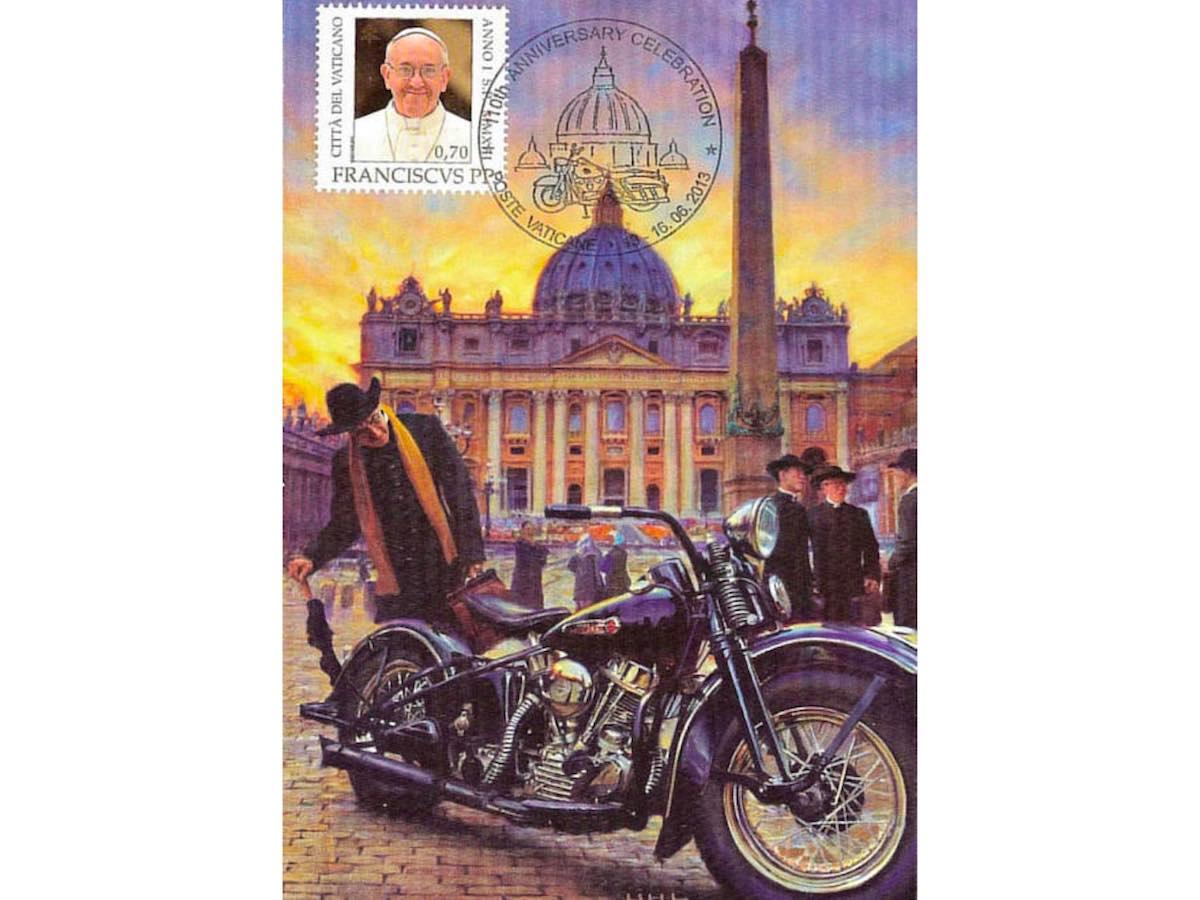 Почтовая открытка Ватикана. 110 лет Harley-Davidson