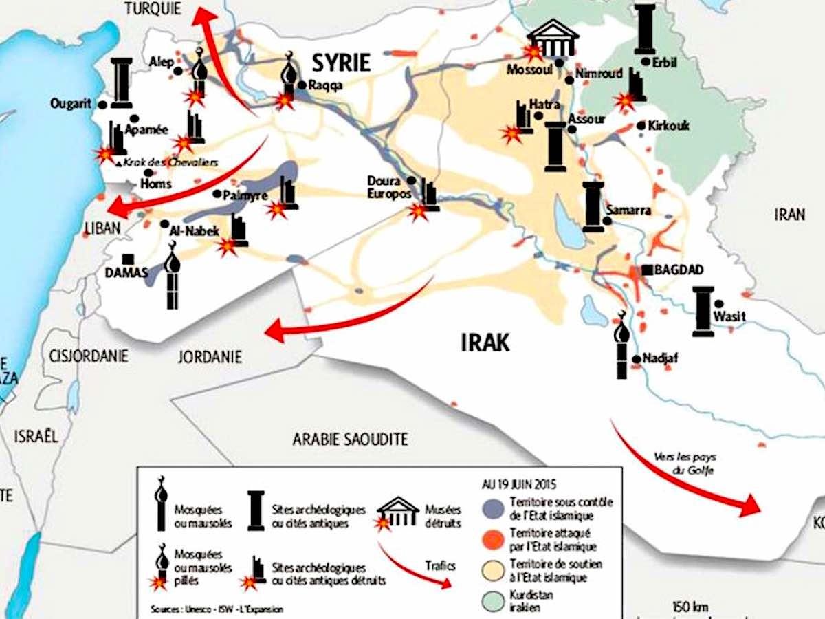 карта контрабанды предметов археологии из Сирии