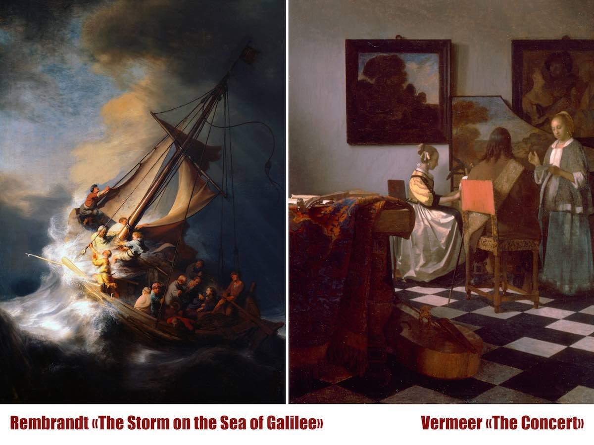 украденные картины Рембрандта и Вермеера