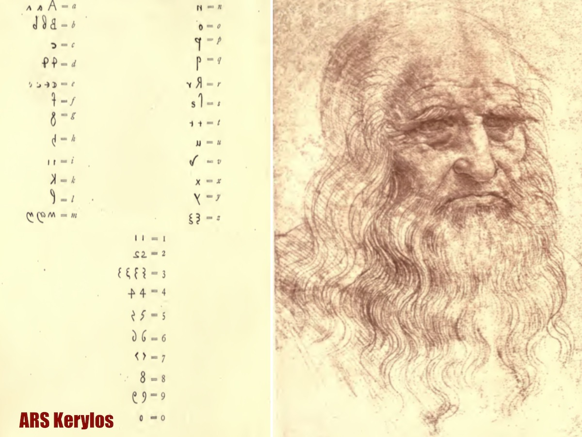 расшифровка спецсимоволов спецсимволов Леонардо да Винчи