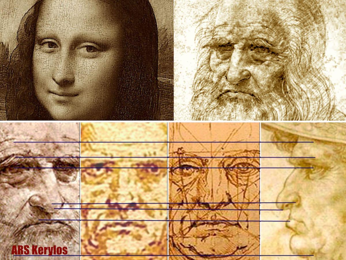 Сравнение автопортрета Леонардо с «Витрувианским человеком» и рисунками мужчин из дневников художника
