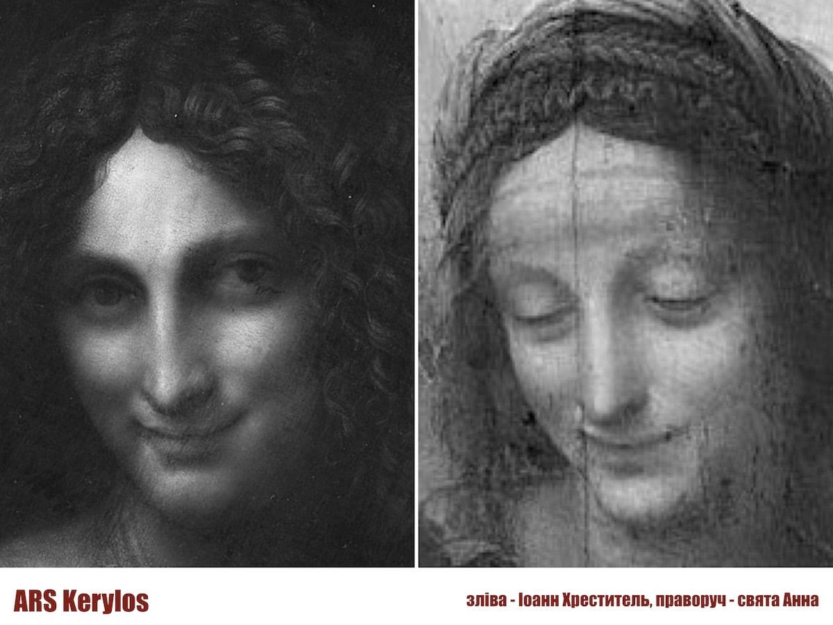Порівняння Іоанна Хрестителя та святої Анни Леонардо да Вінчі