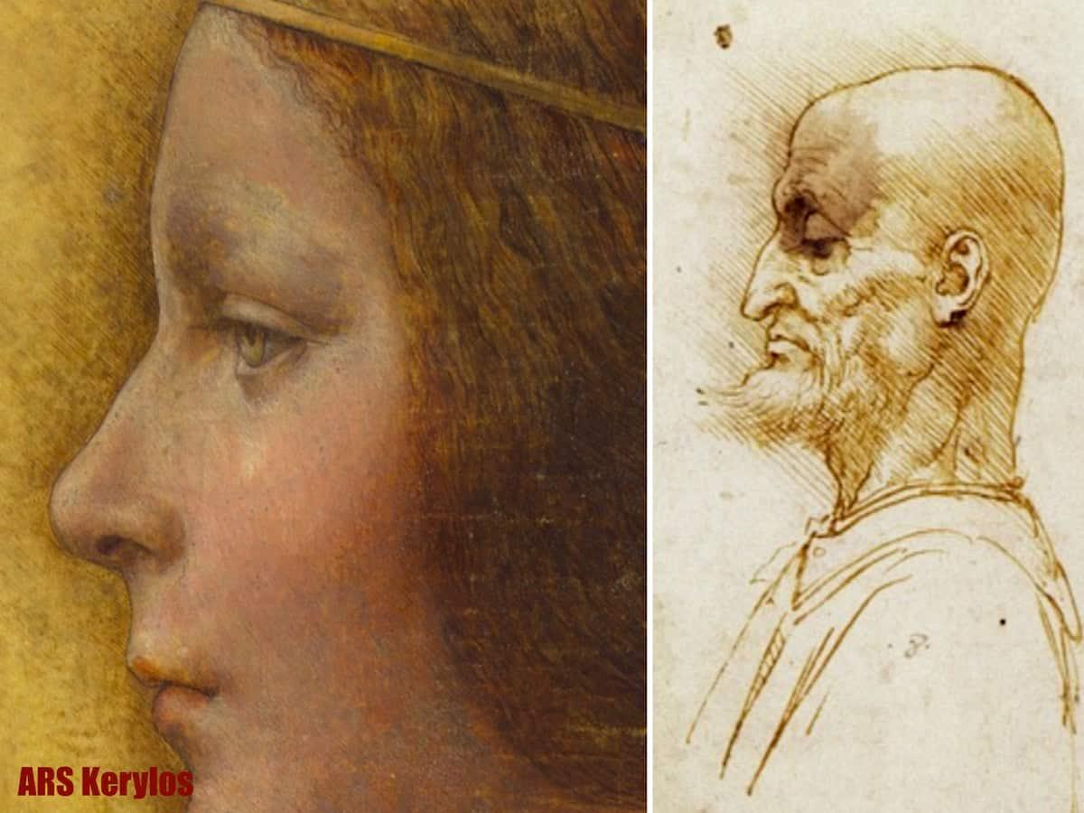 Порівняння штрихування на портреті Бьянки Сфорца з малюнком Леонардо да Вінчі з Британського музею