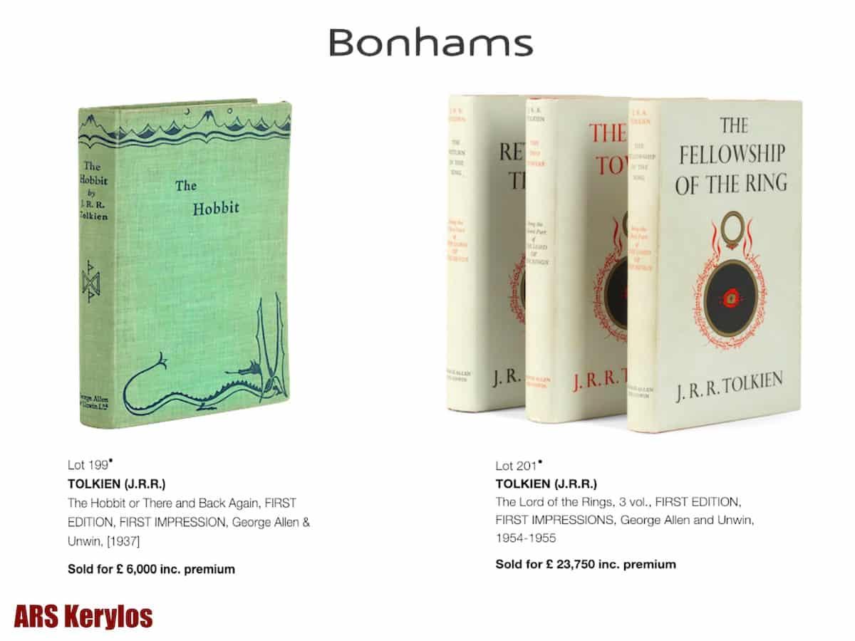 Аукционные цены на раритетные книги Джона Толкина