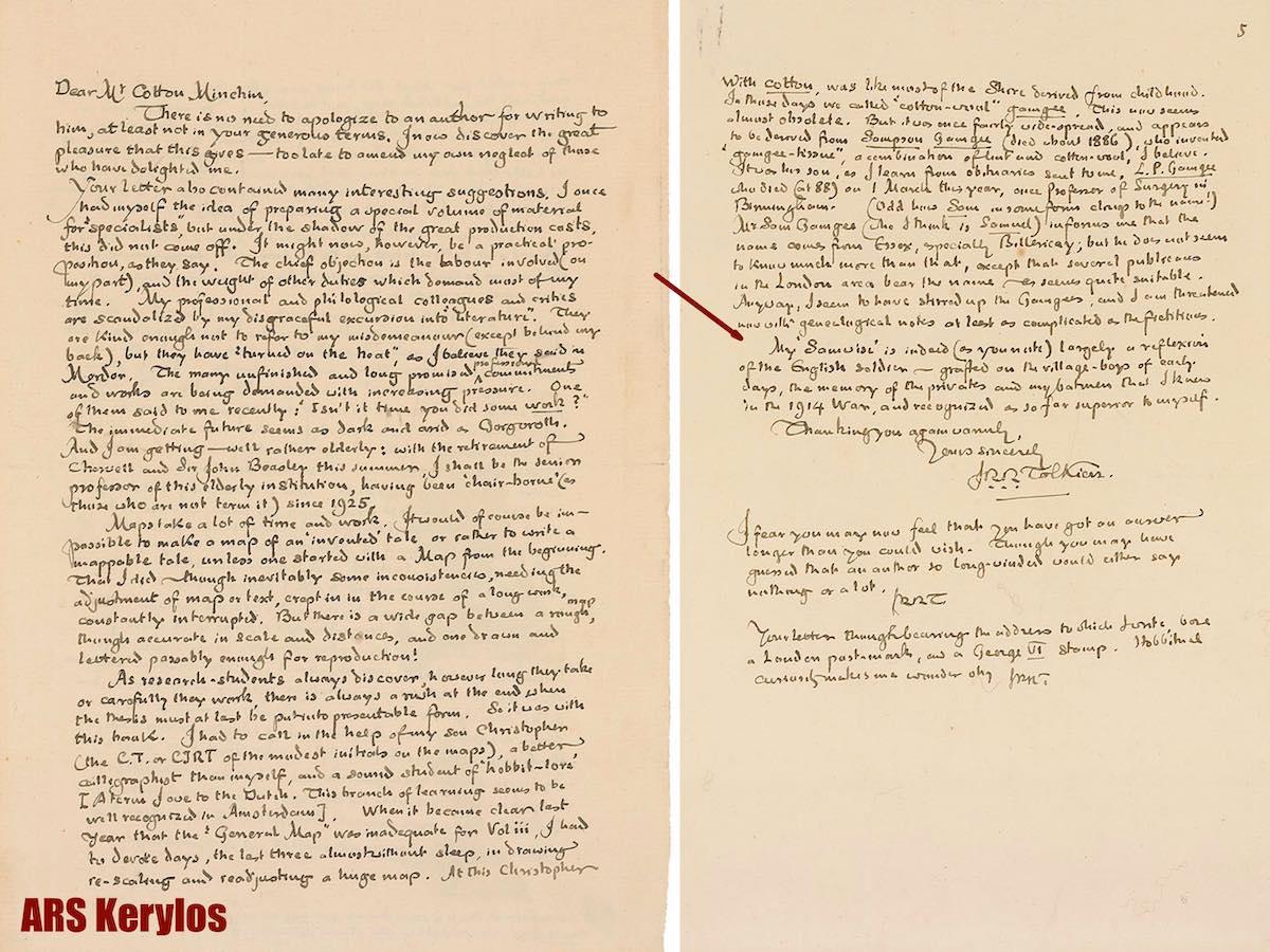 Личное письмо Джона Толкина
