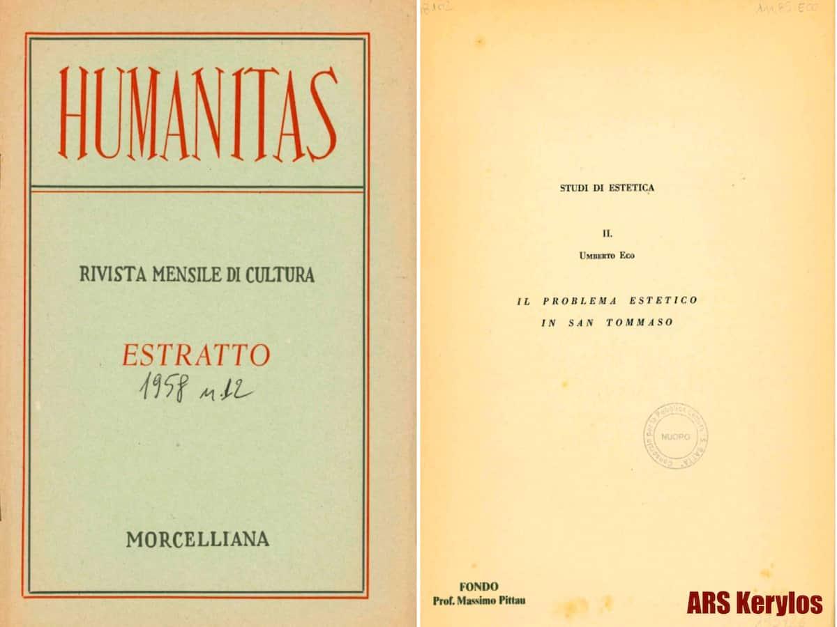 Статья Умберто Эко в журнале Humanitas по материалам диссертации, 1958 год