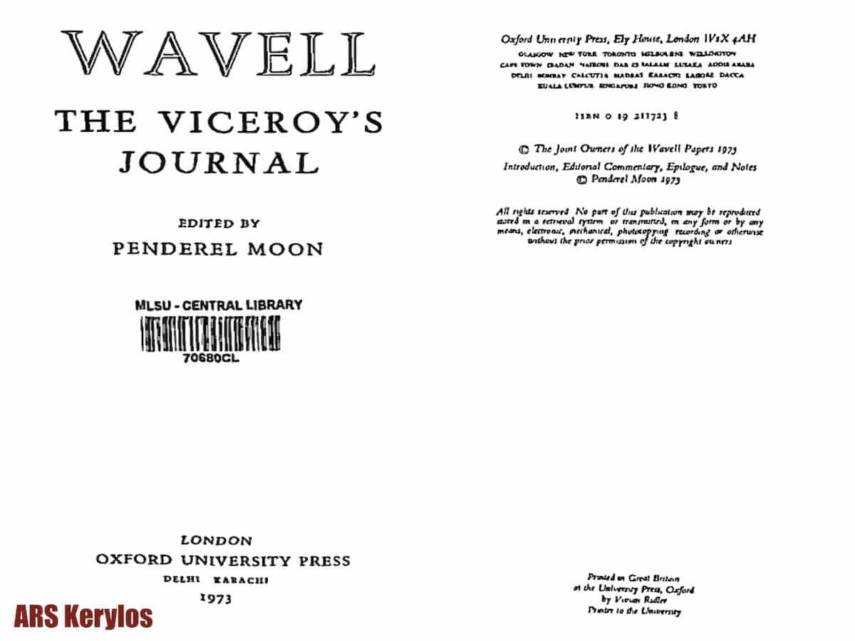 Дневник Арчибальда Вейвелла - вице-короля Индии