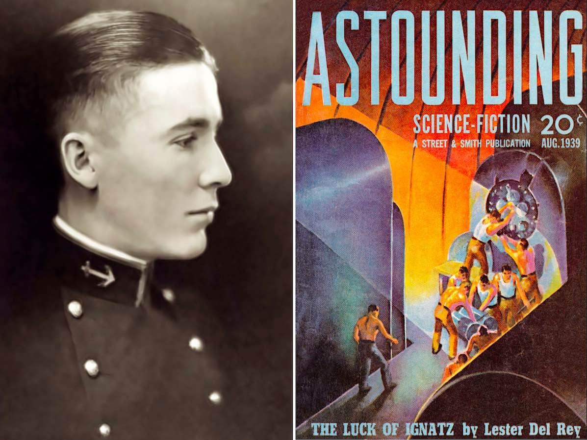 Роберт Хайнлайн, выпускник Военно-морской академии США (1929 год) и обложка журнала «Поразительная научная фантастика» (1939 год).