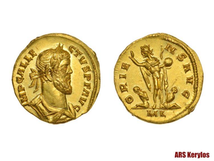 древнеримская золотая монета, 293-296 годы нашей эры