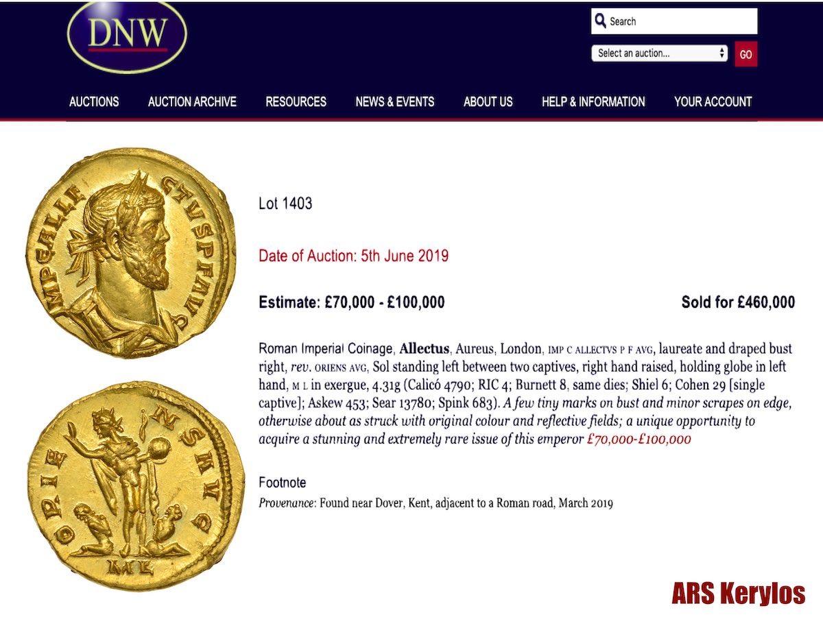 Золотая монета Allectus aureus, период правления императора Аллектуса