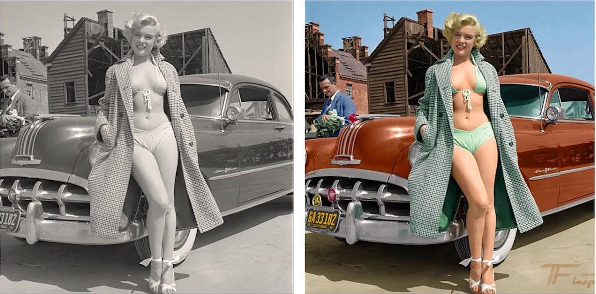 Мэрилин Монро и автомобиль Понтиак